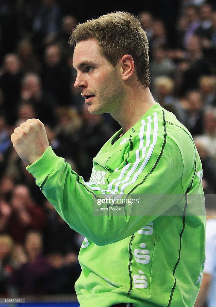 Andreas Palicka of Kiel celebrates during the Toyota Handball Bundesliga match between THW Kiel and MT Melsungen at the Sparkassen Arena on February 23, 2011 in Kiel, Germany.
