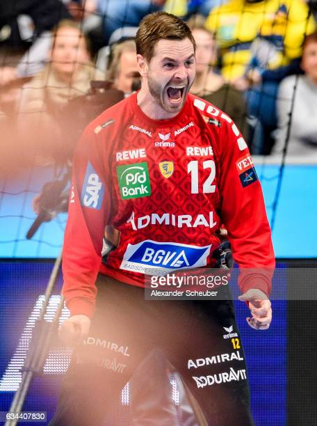 Andreas Palicka of Rhein Neckar Loewen reacts during the EHF Men's Champions League Group Phase game between RheinNeckar Loewen and KS Vive Tauron...
