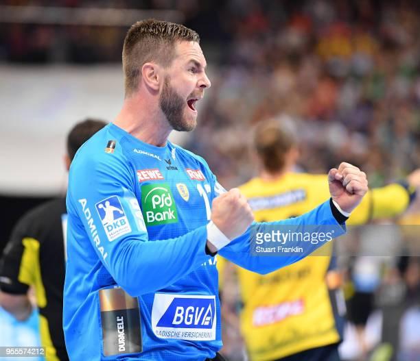 Andreas Palicka of RheinNeckar celebrates during the final of the DKB Handball Bundesliga Final Four between Hannover and RheinNeckar Loewen at the...