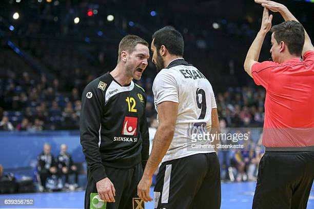 Andreas Palicka of Sweden is shouting at Eslam Eissa of Egypt during the 25th IHF Men's World Championship 2017 match between Sweden and Egypt at...