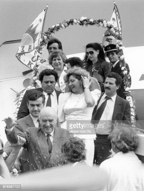 Andreas Papandreou Greek politician leaving a plane