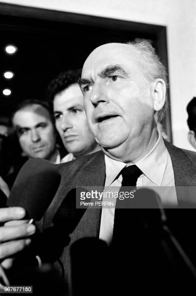 Andreas Papandreou leader du PASOK lors des élections législatives le 18 octobre 1981 à Athènes Grèce