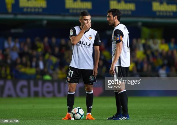 Andreas Pereira and Dani Parejo of Valencia CF during the La Liga match between Villarreal CF and Valencia CF at La Ceramica Stadium on may 2018
