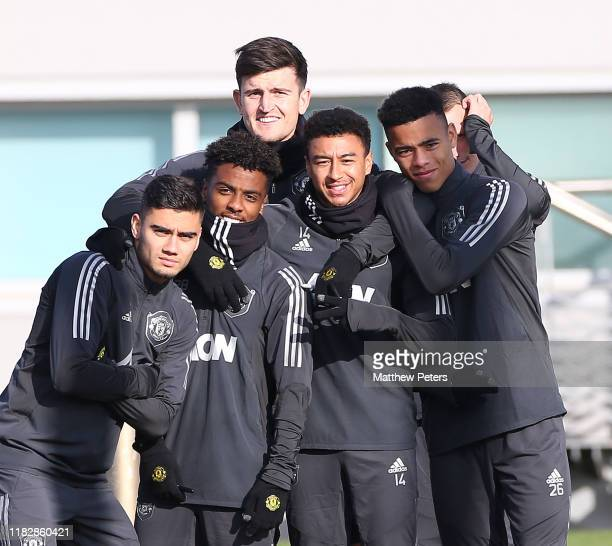 Andreas Pereira Angel Gomes Harry Maguire Jesse Lingard Mason Greenwood of Manchester United in action during a first team training session at Aon...