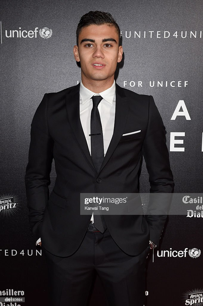 Andreas Pereira attends the United for UNICEF Gala Dinner at Old Trafford on November 29, 2015 in Manchester, England.