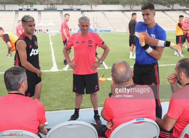 Andreas Pereira Manager Jose Mourinho and Joel Pereira of Manchester United take part in a first team training session as part of their preseason...