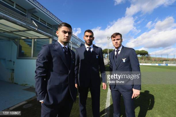 Andreas Pereira, Mohamed Fares and Patric look on during the SS Lazio official team photo at Formello Sport Centre on February 11, 2021 in Rome,...