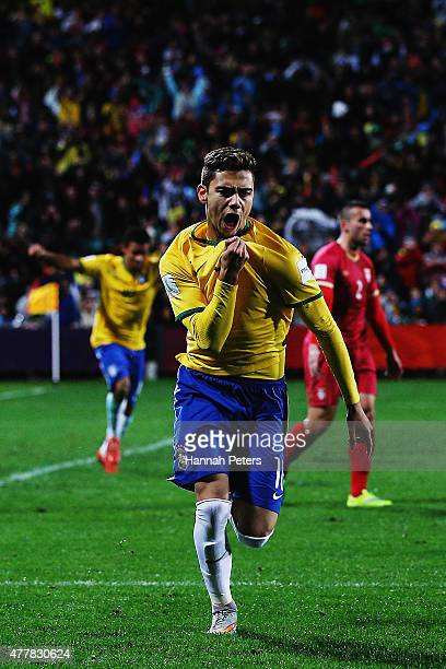 Andreas Pereira of Brazil celebrates after scoring a goal with his team during the FIFA U20 World Cup Final match between Brazil and Serbia at North...