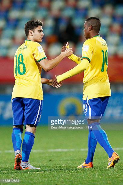Andreas Pereira of Brazil celebrates with Jaja after scoring a penalty in the final minutes of the game during the FIFA U20 World Cup New Zealand...