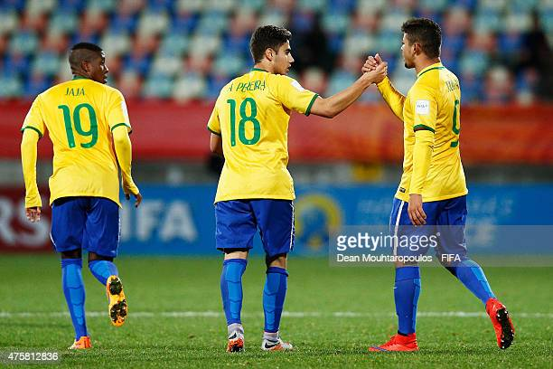 Andreas Pereira of Brazil celebrates with Judivan after scoring a penalty in the final minutes of the game during the FIFA U20 World Cup New Zealand...