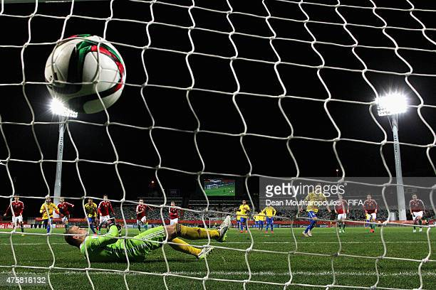 Andreas Pereira of Brazil takes and scores a penalty in the final minutes of the game past goalkeeper, Gyorgy Szekely of Hungary during the FIFA U-20...