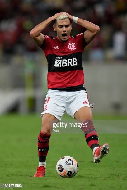 Andreas Pereira of Flamengo reacts during a semi final first leg match between Flamengo and Barcelona SC as part of Copa CONMEBOL Libertadores 2021...