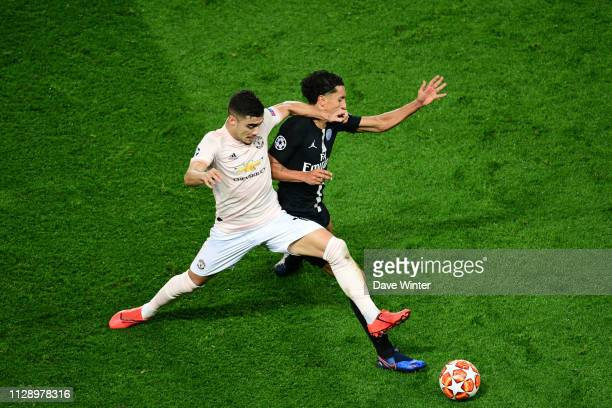 Andreas Pereira of Man Utd and Marquinhos of PSG during the UEFA Champions League Round of 16 Second Leg match between Paris Saint Germain and...