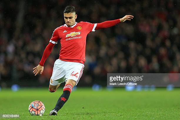 Andreas Pereira of Man Utd in action during the Emirates FA Cup Third Round match between Manchester United and Sheffield United at Old Trafford on...