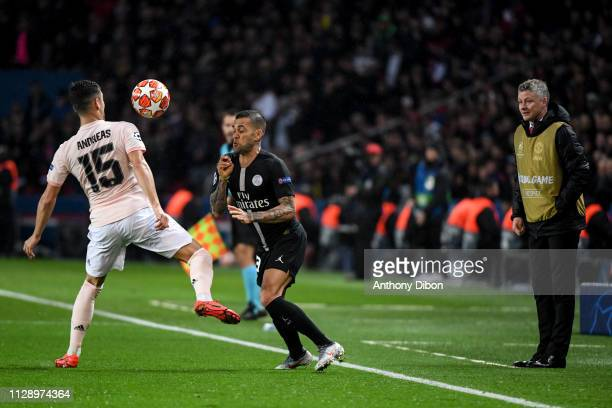 Andreas Pereira of Manchester Daniel Alves of PSG and Ole Gunnar Solskjaer coach of Manchester during the UEFA Champions League Round of 16 Second...