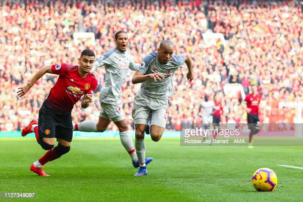 Andreas Pereira of Manchester United and Fabinho of Liverpool during the Premier League match between Manchester United and Liverpool FC at Old...