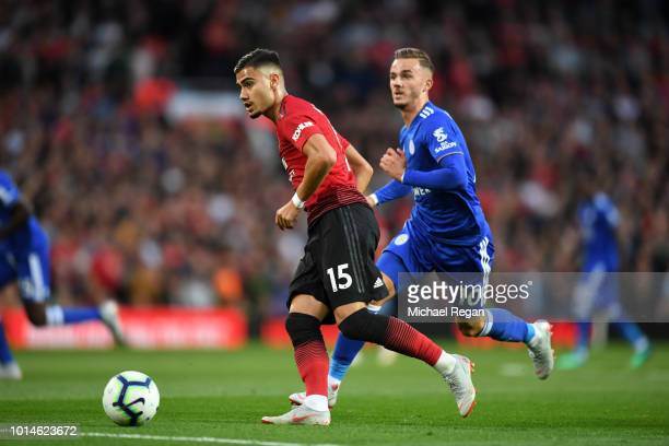 Andreas Pereira of Manchester United and James Maddison of Leicester City in action during the Premier League match between Manchester United and...