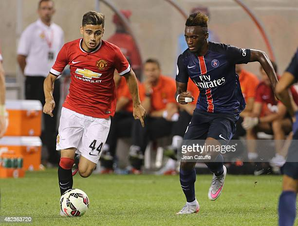 Andreas Pereira of Manchester United and JeanChristophe Bahebeck of PSG in action during the International Champions Cup 2015 game between Manchester...