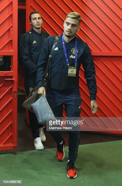 Andreas Pereira of Manchester United arrives ahead of the Group H match of the UEFA Champions League between Manchester United and Valencia at Old...