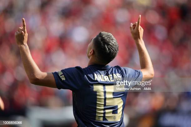 Andreas Pereira of Manchester United celebrates after scoring a goal to make it 11 during the International Champions Cup 2018 match between...