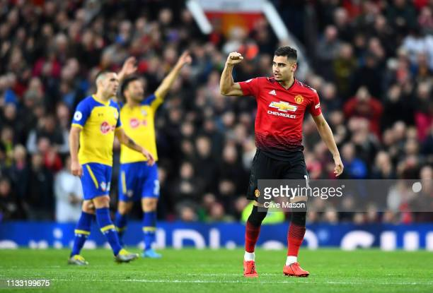Andreas Pereira of Manchester United celebrates after scoring his team's first goal during the Premier League match between Manchester United and...