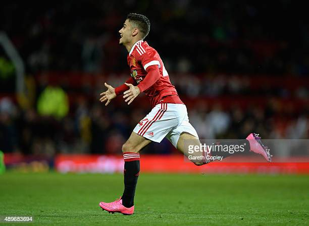Andreas Pereira of Manchester United celebrates after scoring his team's second goal during the Capital One Cup Third Round match between Manchester...