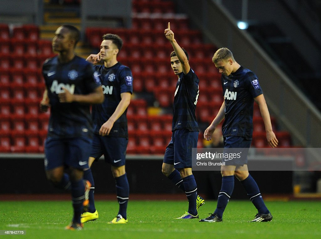 Andreas Pereira of Manchester United celebrates after scoring the opening goal during the Barclays U21 Premier League Semi Final match between Liverpool and Manchester United at Anfield on May 02, 2014 in Liverpool, England.