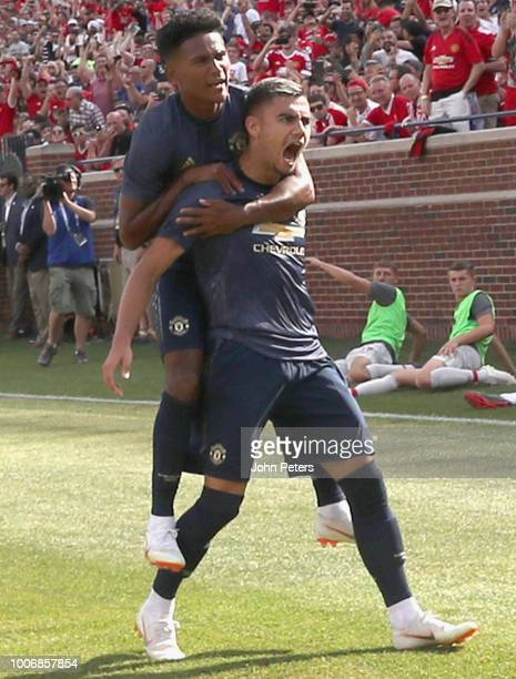Andreas Pereira of Manchester United celebrates scoring their first goal during the preseason friendly match between Manchester United and Liverpool...