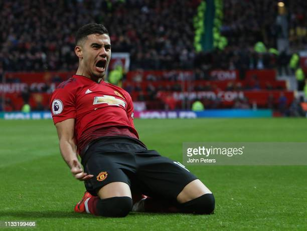 Andreas Pereira of Manchester United celebrates scoring their first goal during the Premier League match between Manchester United and Southampton FC...