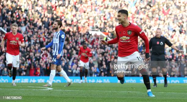 Andreas Pereira of Manchester United celebrates scoring their first goal the Premier League match between Manchester United and Brighton Hove Albion...