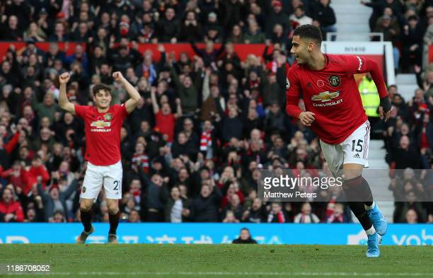 Andreas Pereira of Manchester United celebrates scoring their first goal during the Premier League match between Manchester United and Brighton Hove...