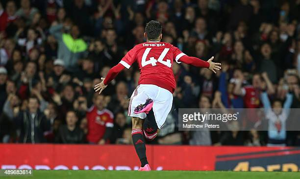 Andreas Pereira of Manchester United celebrates scoring their second goal during the Capital One Cup Third Round match between Manchester United and...