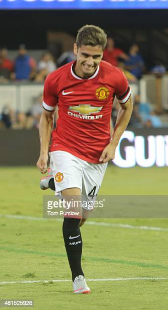 Andreas Pereira of Manchester United celebrates scoring their third goal during the International Champions Cup 2015 match between San Jose...