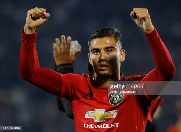 Andreas Pereira of Manchester United celebrates with fans after the UEFA Europa League group L match between Partizan and Manchester United at...