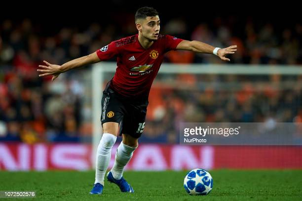Andreas Pereira of Manchester United does passed during the match between Valencia CF and Manchester United at Mestalla Stadium in Valencia Spain on...