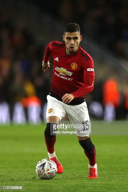 Andreas Pereira of Manchester United during the FA Cup Quarter Final match between Wolverhampton Wanderers and Manchester United at Molineux on March...