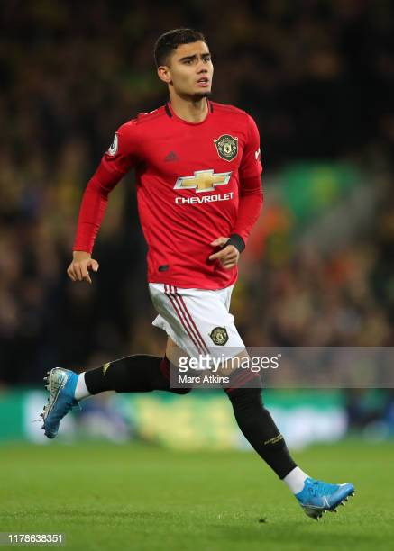 Andreas Pereira of Manchester United during the Premier League match between Norwich City and Manchester United at Carrow Road on October 27 2019 in...