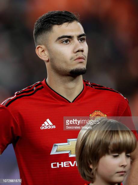 Andreas Pereira of Manchester United during the UEFA Champions League match between Valencia v Manchester United at the Estadio de Mestalla on...