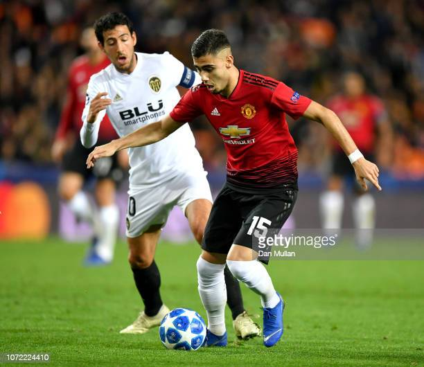 Andreas Pereira of Manchester United holds off Daniel Parejo of Valencia during the UEFA Champions League Group H match between Valencia and...