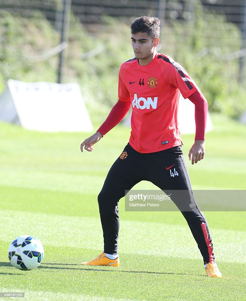 Andreas Pereira of Manchester United in action during a first team training session at Aon Training Complex on September 26, 2014 in Manchester, England.