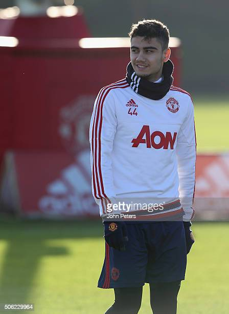 Andreas Pereira of Manchester United in action during a first team training session at Aon Training Complex on January 22 2016 in Manchester England