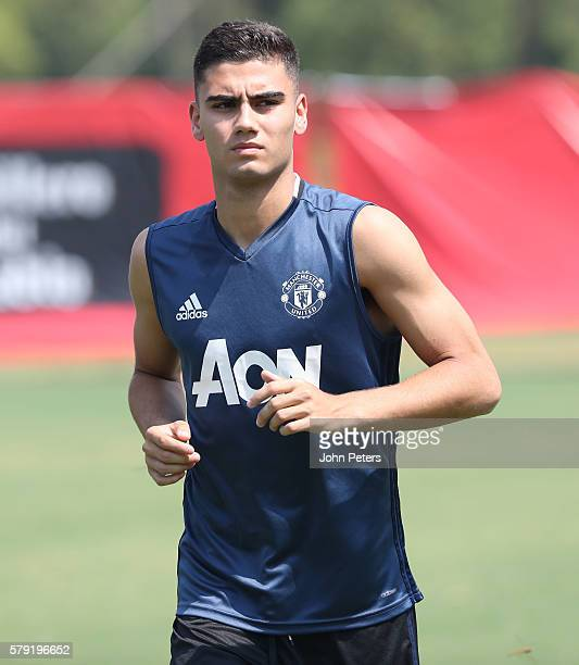 Andreas Pereira of Manchester United in action during a first team training session as part of their preseason tour of China at Century Park on July...