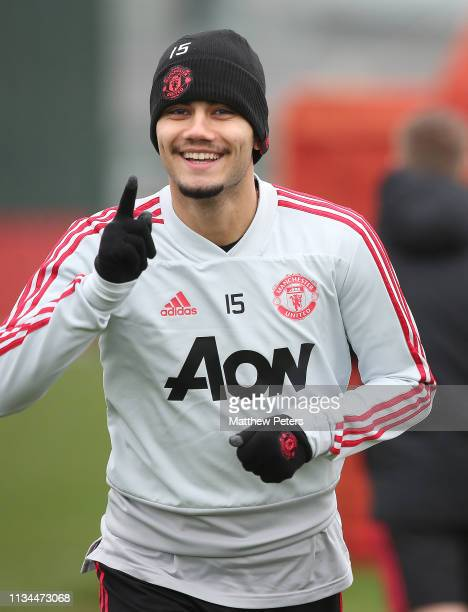 Andreas Pereira of Manchester United in action during a training session at Aon Training Complex on March 08 2019 in Manchester England