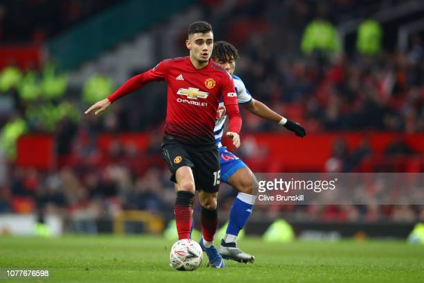Andreas Pereira of Manchester United in action during the FA Cup Third Round match between Manchester United and Reading at Old Trafford on January 5...
