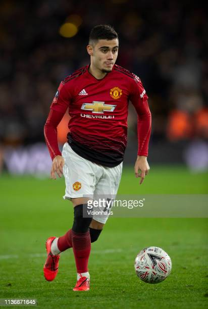 Andreas Pereira of Manchester United in action during the FA Cup Quarter Final match between Wolverhampton Wanderers and Manchester United at...