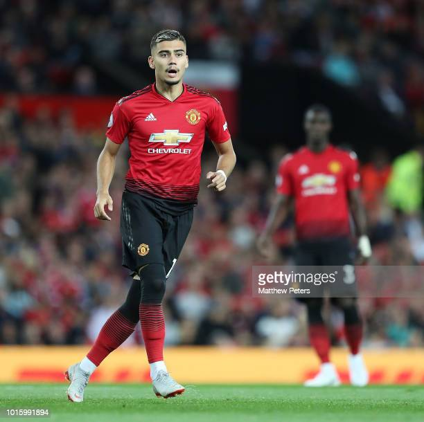 Andreas Pereira of Manchester United in action during the Premier League match between Manchester United and Leicester City at Old Trafford on August...