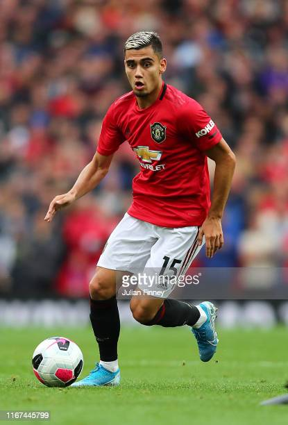 Andreas Pereira of Manchester United in action during the Premier League match between Manchester United and Chelsea FC at Old Trafford on August 11...