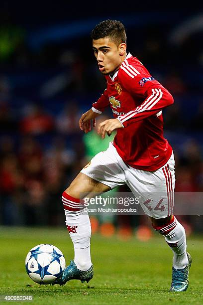 Andreas Pereira of Manchester United in action during the UEFA Champions League Group B match between Manchester United FC and VfL Wolfsburg at Old...