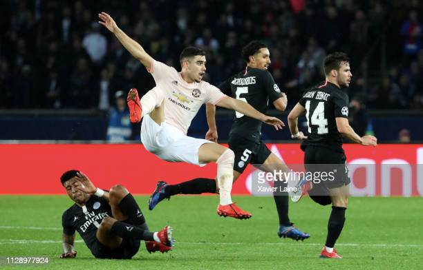 Andreas Pereira of Manchester United in action during the UEFA Champions League Round of 16 Second Leg match between Paris SaintGermain and...
