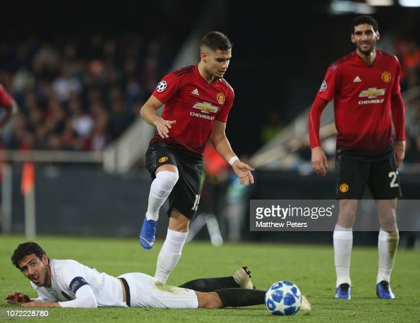 Andreas Pereira of Manchester United in action with Daniel Parejo of Valencia during the UEFA Champions League Group H match between Valencia and...